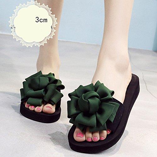 Donne sandali 3.5cm - tacchi alti multicolori Femmina pantofole estive Scarpe da spiaggia con tacco alto Sandali di moda per 18-40 anni Confortevole ( Colore : Rose red-3cm , dimensioni : 36 ) Green-3cm