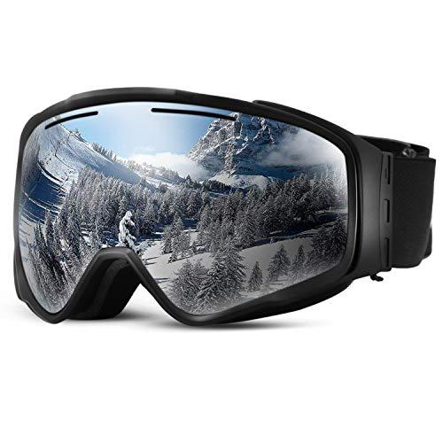 SunTime Ski Brille Ende Doppelschicht Anti-Fog Skibrille Outdoor Skibrille Zylindrische Linse abnehmbare Magnet Unsex (Schwarz)