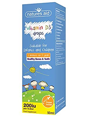Natures Aid Vitamin D3 200iu (5ug) Liquid for infants & children - 50ml by NAVX2