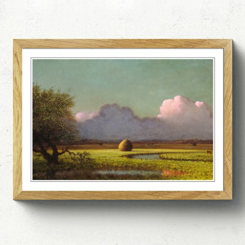 BIG Arty Pie Martin Johnson Heade Sunlight and Shadow, Newbury Marshes Framed Print with Oak Frame, Multi-Colour, 62 x 45 cm/24.5 x 18-inch/A2