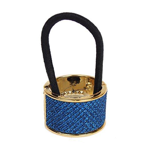 JUSTFOX - Glitzernder Haarring in Blau Goldener Rand