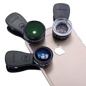 & # X3010; versione aggiornata & # X3011; Mpow 3in 1lente kit ,180gradi obiettivo fisheye + 0.36x Grandangolo + 20x obiettivo macro con 3diverse lenti per iPhone 7/6Plus/6s/5/se, HTC, Huawei e altri smartphone