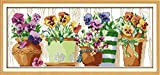 yeesam Art® New Kreuzstich Kits anspruchsvoll–Blumentopf auf der Fensterbank 14Count 56x 27cm Weiß Leinwand, Naht Christmas Gifts