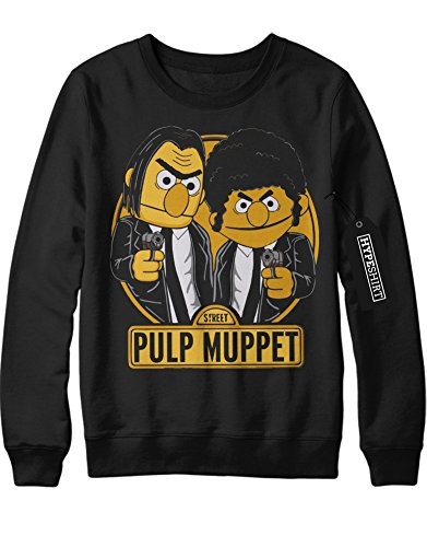 Sweatshirt Pulp Fiction Vincent Vega Jules Winnfield Muppets Mashup C123458 Schwarz (Vincent Vega Fiction Pulp Kostüm)