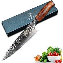 YARENH Mejores Cuchillos de Cocina de 20 cm en Damasco Japones Acero Cuchillos de Cocinero Buenos Global Cuchillo Cebollero
