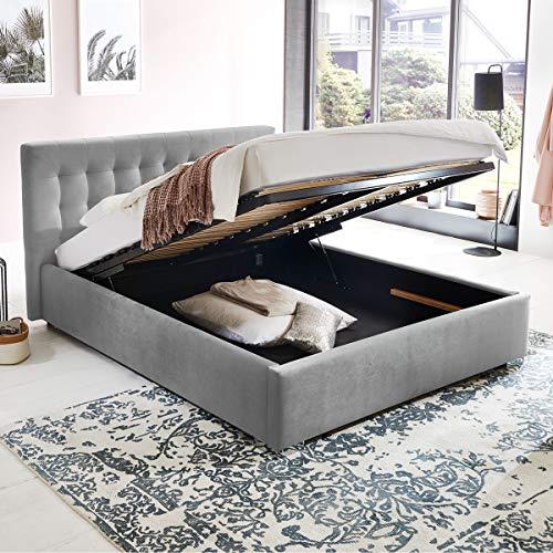 Bett mit Bettkasten Jimmy Samt-Stoff Polsterbett Lattenrost Doppelbett Stauraum Chromefuß (Grau, 180 x 200 cm)