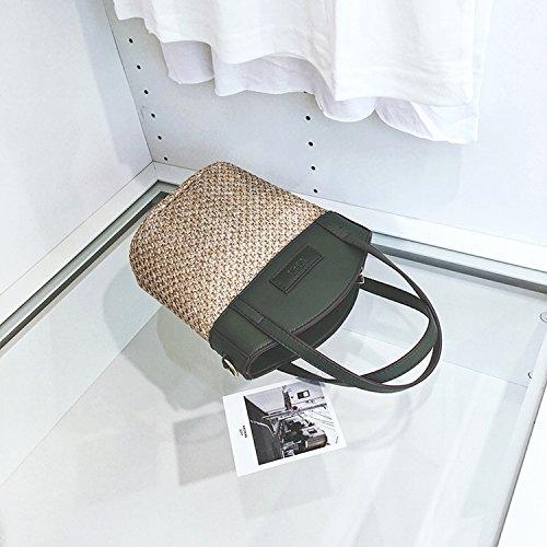 Mode Stitching Stroh Taschen Handtasche Frauen Schulter Messenger Bag Freizeit Strand Taschen Grün