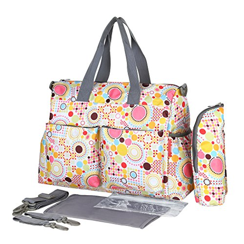 YoungSoul Baby Wickelumhängetaschen Wickeltasche mit Wickelunterlage und Kinderwagen Haken Große Kapazität Babytasche Reisetasche für kinderwagen Oman Beige