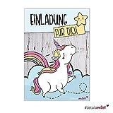 15 Einhorn-Einladungskarten I dv_220 I DIN A6 I Unicorn Einladung für Mädchen I Set ohne Anlass zum Ausfüllen I Geburtstag Einschulung Taufe