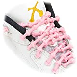 XTENEX - X300 Pink 20 (PATENTED) Adjustable Eyelet Blocking No Tie Elastic Shoe Laces for an Extreme Lock In Performance Fit