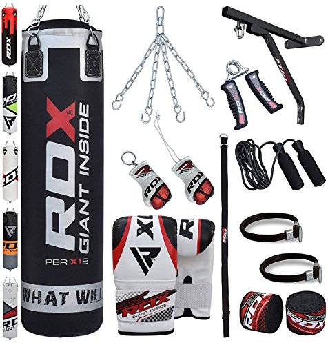 RDX Sac de Frappe Rempli Lourd MMA Punching Ball Muay Thai Arts Martiaux Kickboxing Kit Boxe Avec Gants Chaine Suspension support Mural Punching Bag
