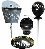 LS-Design Stand-Aschenbecher Sturmaschenbecher Windaschenbecher Ashtray Smoke Grau Weiss gekalkt Gartenstab