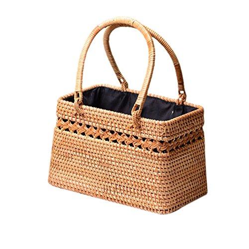 Colinsa Damen Strand Stroh handtasche mit Henkeln für Sommer Böhmen-Art-moderner handgemachter Rattan-Stroh gesponnener Ausschnitt-Korb-exotischer Rattan-Speicherkorb-Strand-Korb für Frauen -