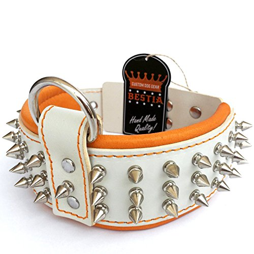 Bestia real leather dog collar. 2.5 inch wide. Soft padded. Hand made. Screw spikes!. 100% genuine leather. White and orange. 1/2 inch spikes. Unique design and quality. Pitbull. Staffy. Rottweiler. Large dogs