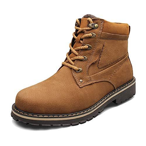 Männer Werkzeug Schuhe Hohe Hilfe Martin Stiefel Plus SAMT Verdicken Desert Boots Rutschfeste Tragen Wanderschuhe Bequeme Motorradstiefel,Brown-52
