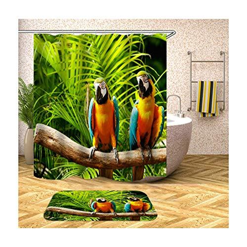 ANAZOZ Duschvorhang+Badematte Set Wasserdicht Waschbar Badewanne Vorhänge Anti-Schimmel Polyester Papagei Auf AST Badzimmer Teppich Bunt 180X180CM A114