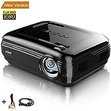 Proyector Full HD 1080P, LESHP(2017 Última Versión)Proyectores 3200 Lúmenes Portátil Proyectores LED Projector LCD Cine Casero 1280×1920 Max 3000:1 HDMI VGA USB SD para PC Portátil, TV,  Hogar, Experiencia de Cine