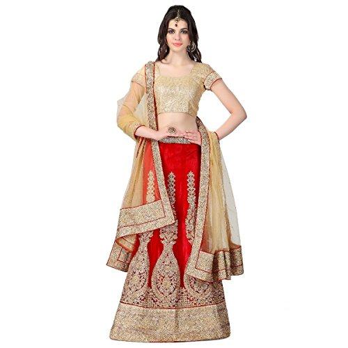 Janasya Women's Net Lehenga Choli (JNE0405_Red_Free Size)