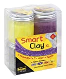 Idena 40277 - Smart Clay Glitter XL, 4 x 70 g, Silber, Lila, Orange, Gelb