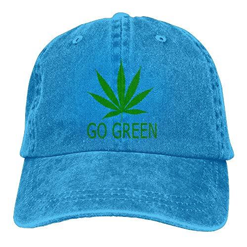 Einst Go Green Weed Pot Leaf Marijuana Cannabis Classic Unisex Baseball Cap Verstellbare Washed Dyed Baumwolle Ball Hat Black -