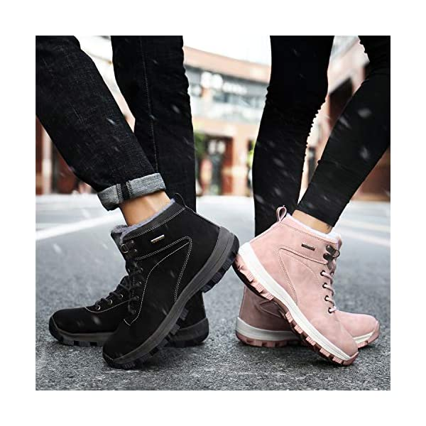 UBFEN Mens Womens Snow Boots Winter Warm Plush Booties Outdoor Sports Walking Hiking High Top Shoes 7