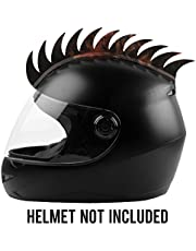 Autofy Helmet Accessory Cuttable Rubber Mohawk/Spikes with Brown & Orange Abstract for All Motorcycles Dirt Bike and Normal Helmets