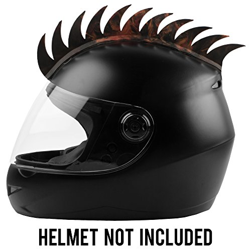 Autofy Helmet Accessory Cuttable Rubber Mohawk Spikes with Brown & Orange Abstract for All Motorcycles Dirt Bike Normal Helmets (Black)