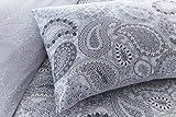 Pieridae, set biancheria da letto con copripiumino e federa, stampa digitale di elevata qualità, motivo: cachemire grigio, Policotone, Grey, King size