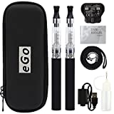 Discoball® 2 Pack eGo CE4 Electronic Cigarette E Cig E-cigarettes | Vape Pens Vaporiser Shisha Starter Kit with Zipper Case | 1100mAh Rechargeable Battery | LATEST TPD CE4 Atomizer with Kid Lock | UK Plug | [Nicotine Free] (2PCS Black)