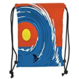 Fevthmii Drawstring Backpacks Bags,Ride The Wave,Man Surfing in Giant Ocean Waves Retro Artistic Sports Poster Print,Violet Blue Scarlet Soft Satin,5 Liter Capacity,Adjustable String Closur