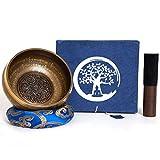 Bol chantant fait main au Népal - 600g - 14cm - 5 Métaux - Fuseau en palissandre avec du cuir - Set box de papier Lokta - Gravures en Nepālī - Méditation et thérapie sonore - Symbolique Mudra