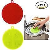 Nueva esponja antibacterial multiusos de Scrubber de silicona para lavar platos, lavadora de frutas y verduras Almohadilla de aislamiento térmico para lavavajillas de cocina Pan Bowl de platos 2 PCS (Redondo)