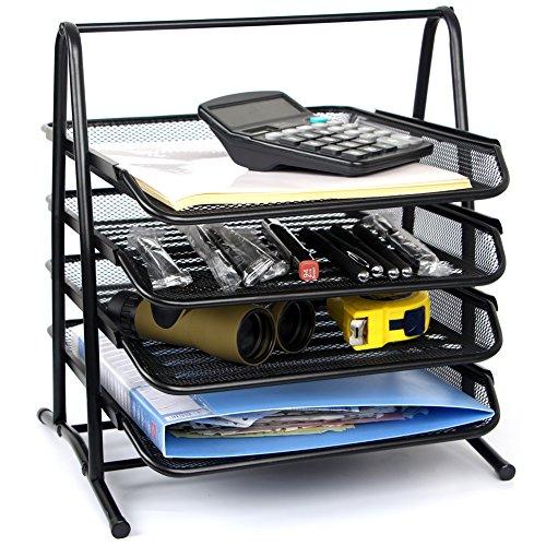 4 Tier-mesh (Stackable Letter Tray Desktop Organizer Metall Mesh Office Tray Desk File Organizer, 4-Tiers Regal, Schwarz von Yier)