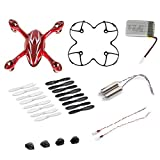 AFUNTA Hubsan X4 H107C Quadcopter Red/White Spare Parts Crash Pack (One Body Shell + One protective cover + 4 Rubber Feet + 4 x Spare Blades Set + One spare 380mA battery + 2 Motors + 2 Led light)