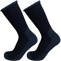 Well Knitting 2paia calzini da escursionismo da lavoro misto lana Merino Outdoor pesanti, Navy, 6-10