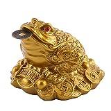Glück Geld Frosch/Kröte, Feng Shui Kröte/Frosch Schatz Becken Statue Mit Münze Anziehen Reichtum und Glück, Feng Shui Dekoration(65×60×50mm-messing)