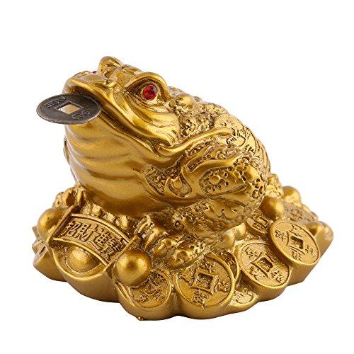 Chinesische Feng Shui Glück Reichtum Geld Frosch Münze Kröte Home Office Dekoration Gute Glück Geschenk, Bronze Brass, 6.5 x 6 x 5cm -