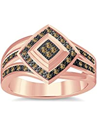 Silvernshine 1.35Ctw Round Cut Citrin Simulated Diamonds 14K Rose Gold Plated Engagement Ring