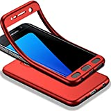 HICASER Galaxy S7 Edge Full body Coque, Matte Finish Anti-dérapante Étui Ultra Léger TPU Case 360 Degres Housse pour Samsung Galaxy S7 Edge Rouge