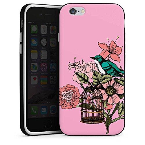 Apple iPhone X Silikon Hülle Case Schutzhülle Vogel Tattoo Blumen Silikon Case schwarz / weiß