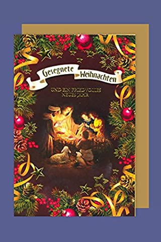 Christliche Weihnachten Karte Grußkarte Heilige Familie Krippe 16x11cm