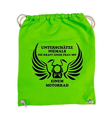 Comedy Bags - UNTERSCHÄTZE NIEMALS FRAU MIT MOTORRAD - Turnbeutel - 37x46cm - Farbe: Schwarz / Silber Hellgrün / Schwarz