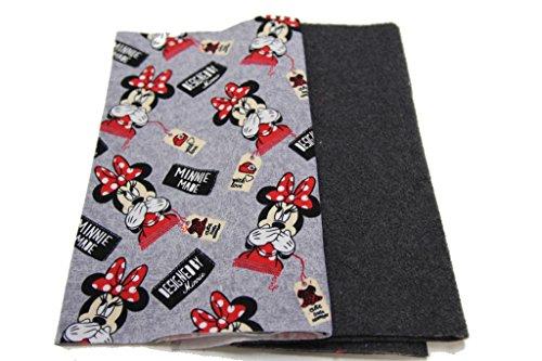 Pinidi DIY Nähset Loop - Schal - Schlauchschal Winter / Jersey Minnie Mouse Motive rot schwarz / Fleece (Polar-) dunkelgrau meliert / inkl. Anleitung / 55cm