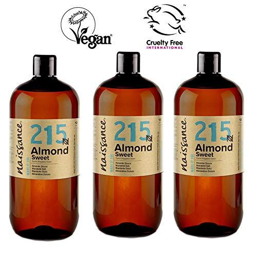 Naissance mandorle dolci puro 3x1l – vegan, senza ogm – ideale per la cura della pelle e dei capelli, l'aromaterapia e come olio da massaggio di base