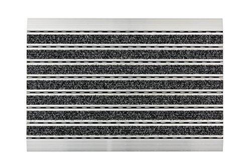 Astra Fußmatte- anthrazit - Aluminiumrahmen - sehr robuste Matte - feine oder grobe Struktur - Schmutzfangmatte - Sauberlauf - 60 x 40 x 1 cm