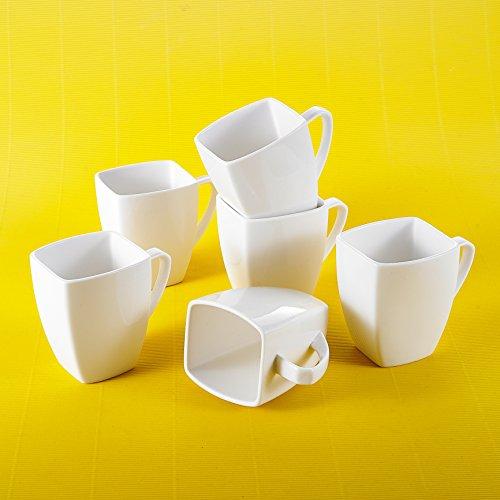 Porzellan Kaffeetassen, Malacasa, Serie Blance, 18er Set Cremeweiß 350ml Tassen 4,5 Zoll /...