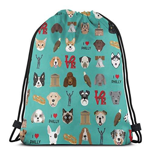 Philadelphia Dogs - Dogs and Philly Print - Turquoise_722 Rucksack mit Kordelzug Rucksack Umhängetaschen Leichte Sporttasche zum Wandern Yoga Gym Schwimmen Travel Beach