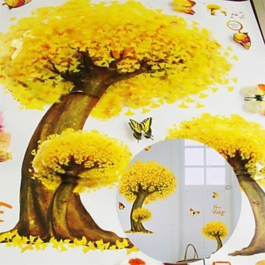 3D Wall Stickers Wall Decals, Natural Yellow Maple Tree PVC Wall Stickers