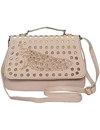 Edify Premium PU Leather Laser Cut Peacock Design Women's Sling Bag With Adjustable Strap (Cream Color)
