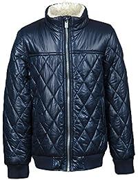 Minoti Boys Quilted Padded Jacket Zip Fastening High Neckline Sherpa Lining-Navy
